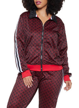 Plus Size Love Graphic Zip Up Track Jacket - 1927063408168
