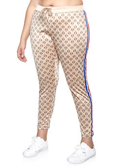 Plus Size Side Stripe Love Graphic Track Pants - 1927063409004