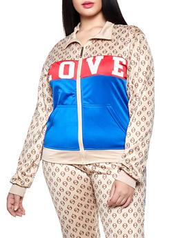 Plus Size Love Graphic Color Block Track Jacket - 1927063409005