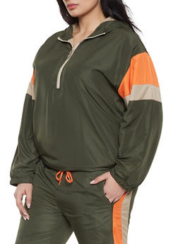 Plus Size Half Zip Windbreaker Jacket - 1927063409057