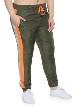 Plus Size Side Stripe Windbreaker Joggers - 1927063409058