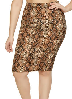 Plus Size Snake Print Skirt - 1927068519338