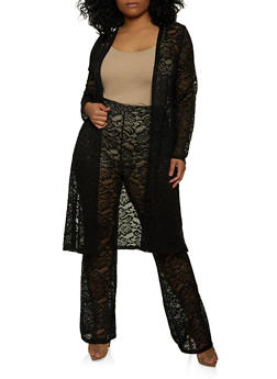 Plus Size Lace Duster and Palazzo Pants Set - 1927069390200