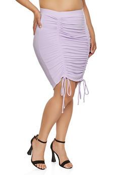 Plus Size Drawstring Pencil Skirt - 1927069390978