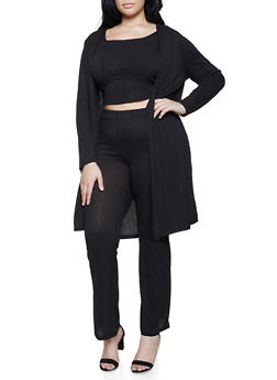 Plus Size Rib Knit Duster with Crop Top and Palazzo Pants - 1927069391003