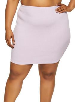 Plus Size Ribbed Mini Skirt - 1927069394083