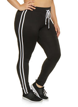 Plus Size Varsity Stripe Leggings - BLACK/WHITE - 1927072290013