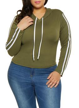 Plus Size Varsity Stripe Hooded Top - 1927072290014