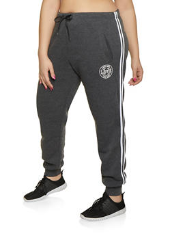 Plus Size Love Varsity Stripe Joggers - 1927072290169