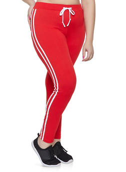 Plus Size Varsity Stripe Leggings - 1927072290210