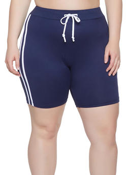 Plus Size Varsity Stripe Bike Shorts - 1927072290212