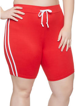 Plus Size Varsity Stripe Bike Shorts - 1927072290212