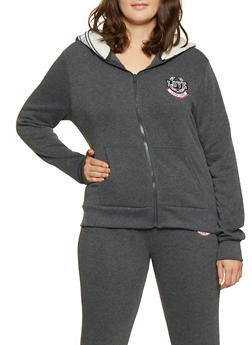 Plus Size Zippered Hooded Top