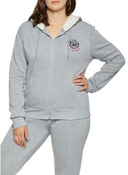 Plus Size Love Embroidered Sweatshirt - 1927072290220