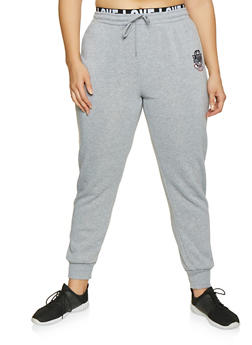 257f5cd905566 Plus Size Love Embroidered Joggers - 1927072290221