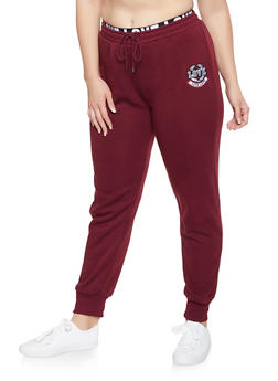 Plus Size Love Embroidered Joggers - 1927072290221