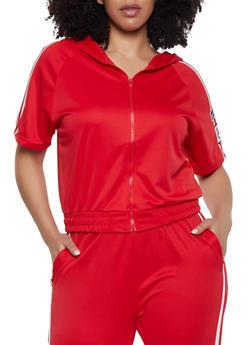 Plus Size Love Varsity Stripe Track Jacket - 1927072290268
