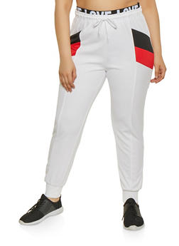 Plus Size Love Band Color Block Joggers - 1927072290290