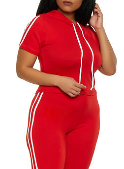 Plus Size Hooded Varsity Stripe Tee - 1927072291210