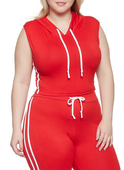 Plus Size Sleeveless Hooded Top - 1927072291212