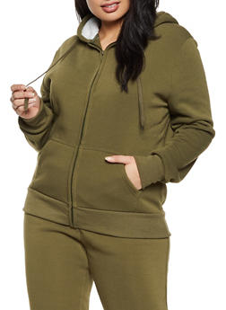 Plus Size Sherpa Hooded Zip Sweatshirt - 1927072291776