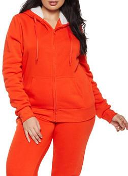 Plus Size Sherpa Hooded Zip Sweatshirt - 1927072291776