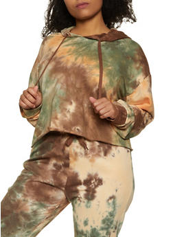 Plus Size Tie Dye Fleece Sweatshirt - 1927072291912