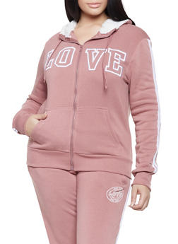 Plus Size Love Varsity Stripe Sweatshirt - 1927072292169