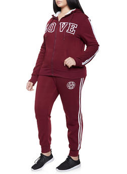 Plus Size Love Varsity Stripe Sweatshirt - 1927072292169