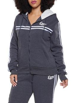 Plus Size Love Striped Tape Hooded Sweatshirt - 1927072292444
