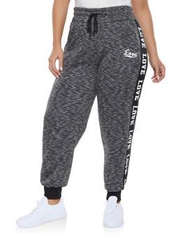 Plus Size Love Graphic Trim Sweatpants - 1927072293187