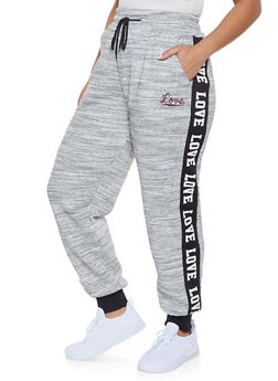 Plus Size Love Graphic Trim Sweatpants - 1927072293187