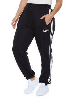 Plus Size Love Varsity Stripe Sweatpants - 1927072294443