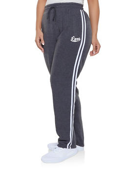 Plus Size Love Varsity Stripe Sweatpants - 1927072294443