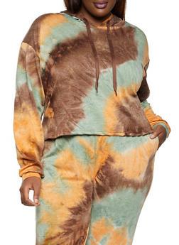 Plus Size Tie Dye Hooded Top - 1927072295168