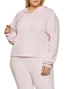 Plus Size Velour Hooded Sweatshirt - 1927072295177