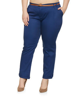 Plus Size Belted Pants - 1928054210295