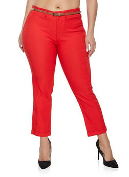 Plus Size Belted Stretch Pants - 1928054217190