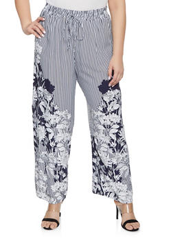 Plus Size Striped Floral Palazzo Pants - 1928056129476