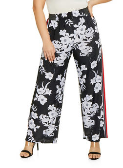 Plus Size Floral Side Stripe Palazzo Pants - 1928056129587
