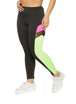 Plus Size Color Block Mesh Insert Active Leggings - 1928058751159