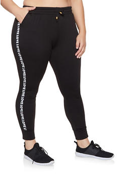 Plus Size Fleece Lined Athletic Joggers - 1928063401133