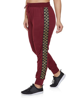 Plus Size Checkered Heart Tape Joggers - 1928063401581