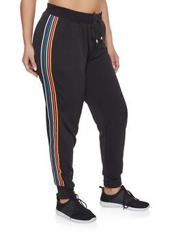 Plus Size Side Stripe Joggers - 1928063401593
