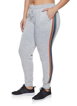 Plus Size Side Stripe Joggers - 1928063401593