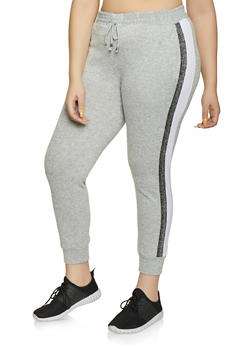 Plus Size Lurex Tape Trim Joggers - 1928063401596