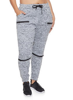Plus Size Fleece Lined Moto Joggers - 1928063408970