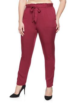 Plus Size Tie Front Paper Bag Waist Pants - 1928068193087