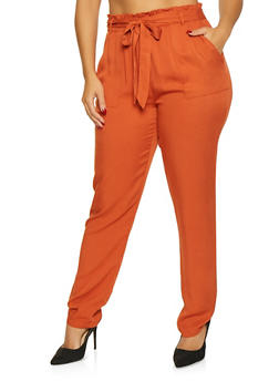 Plus Size Tie Front Paper Bag Waist Pants - 1928068193087