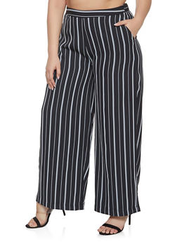 Plus Size Striped Palazzo Pants - 1928068193276